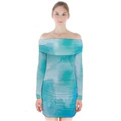 Ombre Long Sleeve Off Shoulder Dress