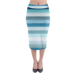 Texture Stripes Horizontal Blue Gray Midi Pencil Skirt by amphoto