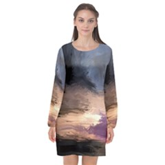 Texture Background Color Style Long Sleeve Chiffon Shift Dress  by amphoto