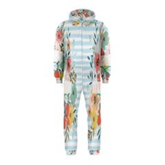 Watercolor Bouquet Floral White Hooded Jumpsuit (kids)