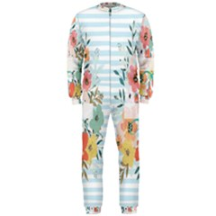 Watercolor Bouquet Floral White Onepiece Jumpsuit (men)