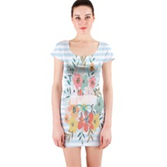 Watercolor Bouquet Floral White Short Sleeve Bodycon Dress