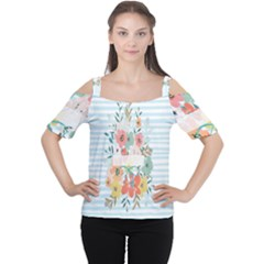 Watercolor Bouquet Floral White Cutout Shoulder Tee