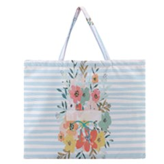 Watercolor Bouquet Floral White Zipper Large Tote Bag