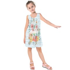 Watercolor Bouquet Floral White Kids  Sleeveless Dress