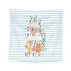 Watercolor Bouquet Floral White Square Tapestry (small)