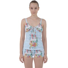 Watercolor Bouquet Floral White Tie Front Two Piece Tankini