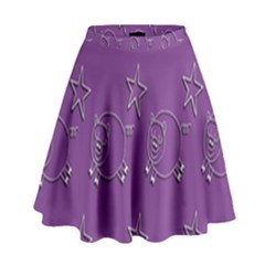 Pig Star Pattern Wallpaper Vector High Waist Skirt