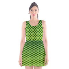 Halftone Circle Background Dot Scoop Neck Skater Dress
