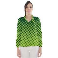 Halftone Circle Background Dot Wind Breaker (women)
