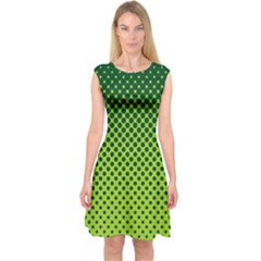 Halftone Circle Background Dot Capsleeve Midi Dress