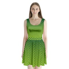 Halftone Circle Background Dot Split Back Mini Dress
