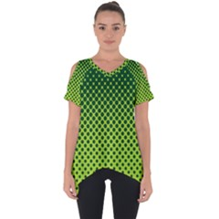 Halftone Circle Background Dot Cut Out Side Drop Tee