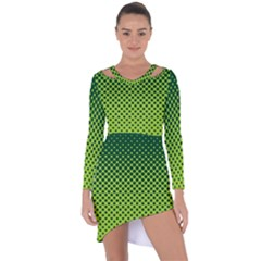 Halftone Circle Background Dot Asymmetric Cut Out Shift Dress