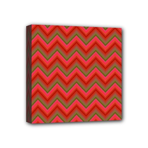 Background Retro Red Zigzag Mini Canvas 4  X 4