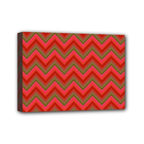 Background Retro Red Zigzag Mini Canvas 7  X 5