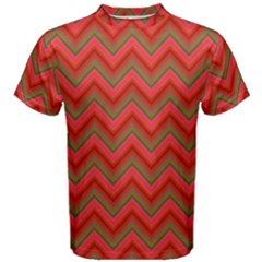 Background Retro Red Zigzag Men s Cotton Tee