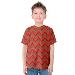 Background Retro Red Zigzag Kids  Cotton Tee