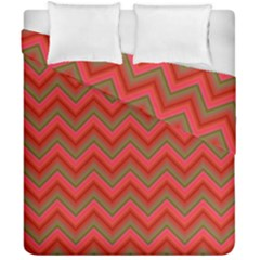 Background Retro Red Zigzag Duvet Cover Double Side (california King Size) by Nexatart