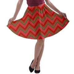 Background Retro Red Zigzag A Line Skater Skirt