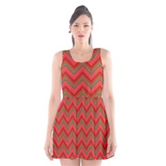 Background Retro Red Zigzag Scoop Neck Skater Dress
