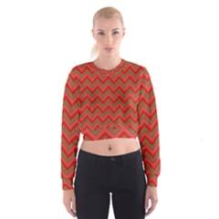 Background Retro Red Zigzag Cropped Sweatshirt