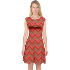Background Retro Red Zigzag Capsleeve Midi Dress