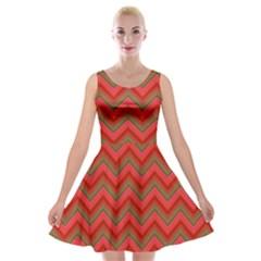 Background Retro Red Zigzag Velvet Skater Dress