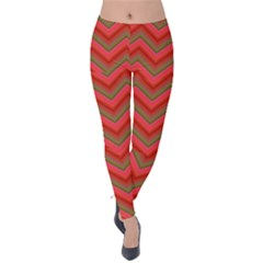 Background Retro Red Zigzag Velvet Leggings
