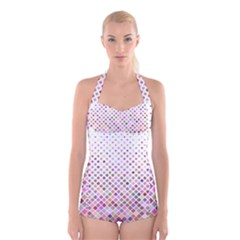 Pattern Square Background Diagonal Boyleg Halter Swimsuit