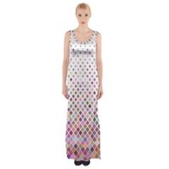 Pattern Square Background Diagonal Maxi Thigh Split Dress