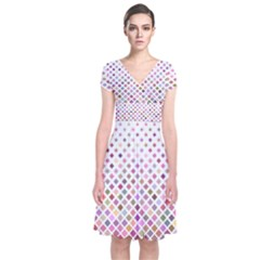 Pattern Square Background Diagonal Short Sleeve Front Wrap Dress