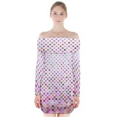 Pattern Square Background Diagonal Long Sleeve Off Shoulder Dress