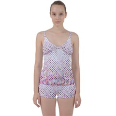 Pattern Square Background Diagonal Tie Front Two Piece Tankini