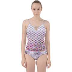 Pattern Square Background Diagonal Cut Out Top Tankini Set