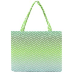 Green Line Zigzag Pattern Chevron Mini Tote Bag