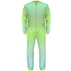 Green Line Zigzag Pattern Chevron Onepiece Jumpsuit (men)
