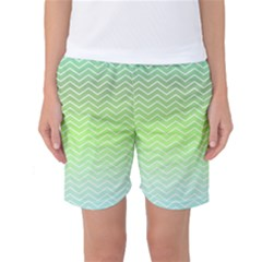 Green Line Zigzag Pattern Chevron Women s Basketball Shorts