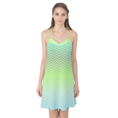 Green Line Zigzag Pattern Chevron Camis Nightgown