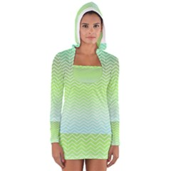 Green Line Zigzag Pattern Chevron Long Sleeve Hooded T Shirt
