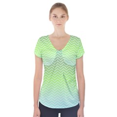 Green Line Zigzag Pattern Chevron Short Sleeve Front Detail Top