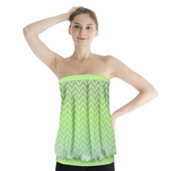 Green Line Zigzag Pattern Chevron Strapless Top