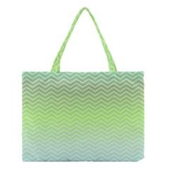 Green Line Zigzag Pattern Chevron Medium Tote Bag by Nexatart