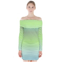 Green Line Zigzag Pattern Chevron Long Sleeve Off Shoulder Dress