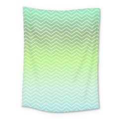 Green Line Zigzag Pattern Chevron Medium Tapestry
