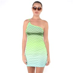 Green Line Zigzag Pattern Chevron One Soulder Bodycon Dress