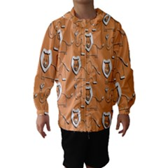 Lion Pattern Wallpaper Vector Hooded Wind Breaker (kids)
