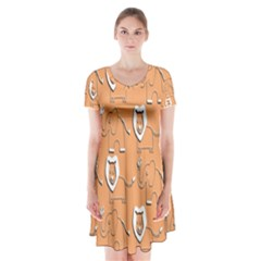 Lion Pattern Wallpaper Vector Short Sleeve V Neck Flare Dress