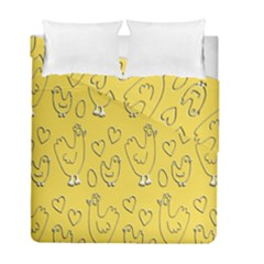 Chicken Chick Pattern Wallpaper Duvet Cover Double Side (full/ Double Size)