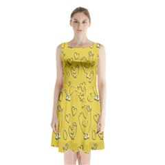 Chicken Chick Pattern Wallpaper Sleeveless Waist Tie Chiffon Dress